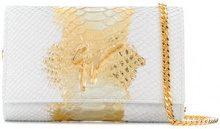 Giuseppe Zanotti Design - python-effect clutch bag - women - Calf Leather - OS - WHITE