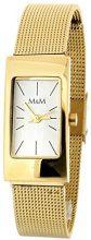 M&M M11406-232 - Orologio da polso da donna, cinturino in acciaio inox colore oro