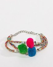 ASOS DESIGN - Braccialetto multifilo colorato con pompon - Multicolore