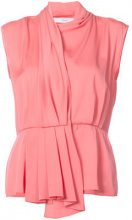 Tome - cap sleeve shirt with back cutout - women - Viscose Crepe - S, M, L - PINK & PURPLE