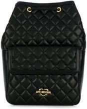 Love Moschino - quilted logo backpack - women - Polyurethane - OS - BLACK
