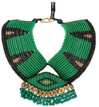 Afroditi Hera - Collana color-block con perline - women - Cotone/Lava Beads/vacccinium myrtillus - OS - GREEN