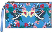 Furla - floral printed clutch bag - women - Leather/Nylon/Viscose - OS - BLUE