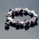A TE® Bracciale Charms Vetro Ciondoli Cristalli Beads Regalo Donna #JW-B