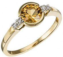 Goldmaid Anello da Donna, Oro Giallo 585, Quarzo Citrino, Rotondo, Misura 52 (16.6)