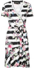 - Nicole Miller - floral printed wrap dress - women - fibra sintetica/rayon - XS , S, L - di colore nero