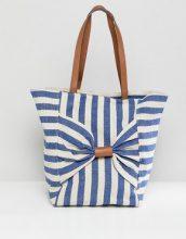 Oasis - Shopper a righe con fiocco - Blu