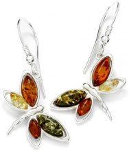 InCollections–Orecchini 925/000Argento Sterling da donna farfalla, con ambra