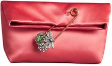 Burberry - The Small Pin Clutch in Satin - women - Silk/Viscose - One Size - Rosso
