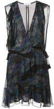 Iro - printed frill trim dress - women - Viscose - 42 - BLUE