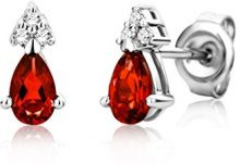 Miore Orecchini Donna Piccoli a Lobo con Diamanti taglio Brillante Rubino Oro Bianco 9 Kt / 375
