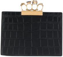 Alexander McQueen - four ring flat clutch - women - Leather - One Size - BLACK