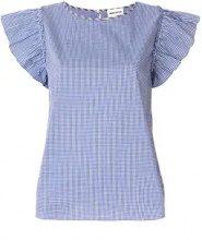 Semicouture - Blusa con maniche increspate - women - Cotone/Polyamide/Spandex/Elastane - 40, 42 - Blu