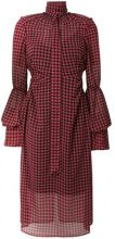 Rokh - gathered houndstooth chiffon dress - women - Polyester - 36, 38 - RED