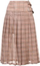 Toga - plaid print pleated skirt - women - Polyester/Cupro - 40 - WHITE