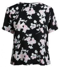PIECES Printed Short Sleeved Blouse Women Black