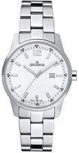 Grovana orologio unisex al quarzo con Bianco display analogico e acciaio inox argento cinturino 7715.1133