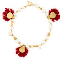 Katerina Makriyianni - Bracciale con perle e nappine - women - Silver/24kt Gold Vermeil/Cotton/glass - OS - NUDE & NEUTRALS
