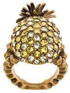 Gucci - Anello 'Pineapple' - women - Crystal/Brass - 50, 56, 51, 54 - METALLIC
