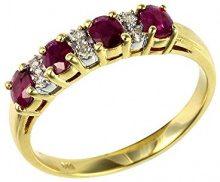Ivy Gems, anello in stile fedina di fidanzamento in oro giallo 9 carati, metà diamante e rubini, oro giallo, 61 (19.4), colore: Red, cod. 181R0619-18/AMS
