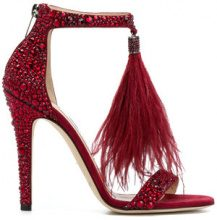 Jimmy Choo - Viola 110 sanals - women - Calf Leather/Goat Skin/Crystal/Ostrich Feather - 36, 36,5, 37, 37,5, 38, 38,5, 39, 39,5, 40 - Rosso
