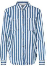 NOISY MAY Striped Oversized Denim Shirt Women Blue