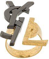 Saint Laurent - anello con logo - women - Brass - OS - METALLIC