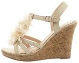 Sopily - Scarpe da Moda sandali alla caviglia donna multi-briglia Sughero fiori Tacco zeppa 10.5 CM - Beige