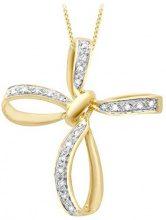 Carissima Gold Collana con Pendente da Donna in Oro Giallo, Bianco 9K (375) con Diamante 0.07ct, 46 cm