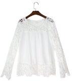 Eleery - camicetta casual morbida, moda donna,a maniche lunghe, con ricamo all'uncinetto traforata