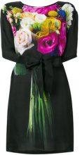 Moschino - Vestito mini a fiori con nodo in vita - women - Viscose - 40, 48, 42, 44, 46, 38 - Nero
