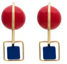 Marni - red and blue resin and metal hook earrings - women - Poliuretano Resina/metal - One Size - BLUE