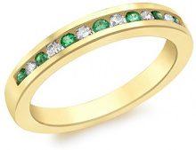 Carissima Gold - Anello da Donna in Oro Giallo 9K (375) con Diamante e Smeraldi, 0.1 K, Misura 57 (18.1)