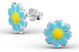 Katy Craig - Paio di orecchini a perno in argento sterling a forma di fiore, colorati con resina epossidica, 10 x 10 mm, confezione regalo inclusa, colore: Blu/Giallo