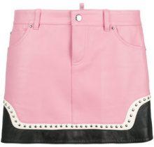 Dsquared2 - studded mini skirt - women - Cotton/Sheep Skin/Shearling/Polyester/Brass - 38, 42, 40, 36 - PINK & PURPLE