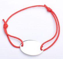 Adara Braccialetto in argento, in corda rossa con disco