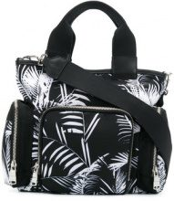 Sonia Rykiel - palm print north-south tote - women - Calf Leather/Polyester - One Size - BLACK
