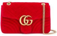 - Gucci - Borsa a spalla 'GG Marmont' - women - Silk/Velvet - Taglia Unica - Rosso