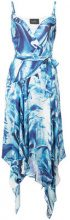 Nicole Miller - metal pattern wrap dress - women - Silk - XS, S, M, L - BLUE
