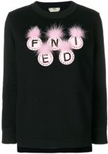 Fendi - logo applique sweatshirt - women - Fox Fur/Cotton/Silk/Crystal - 38, 40, 42 - BLACK