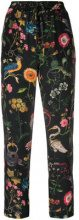 Red Valentino - cropped printed trousers - women - Silk/Acetate/Polyester - 42, 40, 44, 38, 46 - BLACK