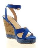 Sopily - Scarpe da Moda sandali alla caviglia donna fibbia sughero corda Tacco zeppa 12 CM - Blu
