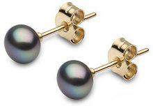 Kimura Pearls 18 carati oro giallo Rotonda A bottone perla cinesa da coltivazione nero Perla