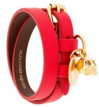 Alexander McQueen - Bracciale a doppio giro - women - Calf Leather/Brass - One Size - RED