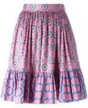 Yves Saint Laurent Vintage - circle print pleated skirt - women - Cotton - 40 - PINK & PURPLE