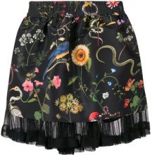 Red Valentino - brocade floral a-line skirt - women - Polyamide/Polyester - 38, 40, 42 - Nero