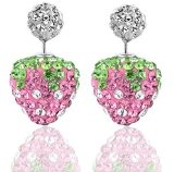 Orecchini fragola design doppio Shamballa rosa