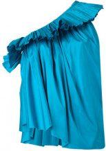 Marques'almeida - pleated one-shoulder top - women - Silk - XS - BLUE