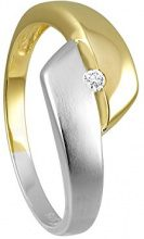 Diamond Line FINERING - Anello, con Diamante, oro giallo, misura 50 (15.9)