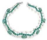 Bling Jewelry Turchese Colore perla d'acqua dolce collana di cristallo della pietra preziosa 18in